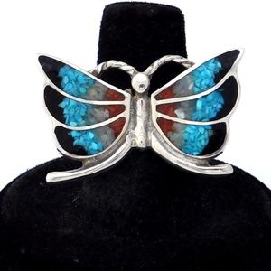 Vintage Southwestern Butterfly Ring 925 Turquoise